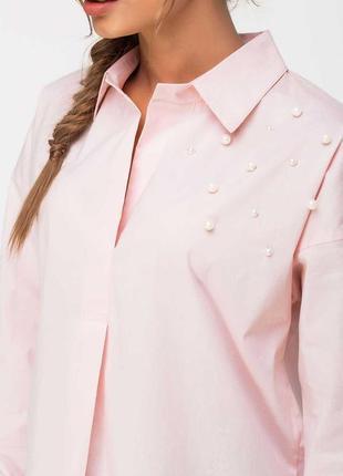 Трендовая хлопковая рубашка блузка с жемчугом бусинами от atmopshere1
