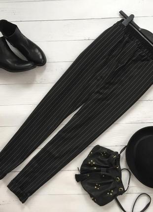 Стильные брюки в полоску заужены к низу1