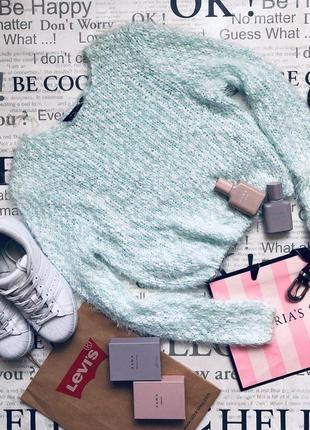 Милый мятный свитер травка1