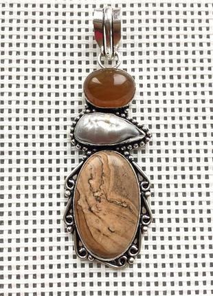 Новый кулон - подвеска природная пейзажная яшма,жемчуг, агат в серебре 925, индия5