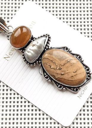 Новый кулон - подвеска природная пейзажная яшма,жемчуг, агат в серебре 925, индия2