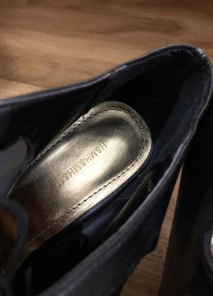 Туфли лодочки чёрные с острым носком и шнуровкой на новый год эко кожа h&m4