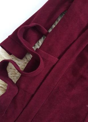 Мягкий халат цвета марсала с поясом4 фото