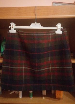 Теплая юбка шерсть 100% в клетку красно-зеленая1