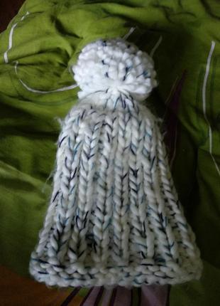Шапка толстой вязки, cropp , шапка грубої в'язки с помпоном, зимова шапка4