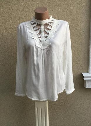 Красивая,романтическая,белая блуза,рубаха с кружевом по груди,коллекция clockhouse1