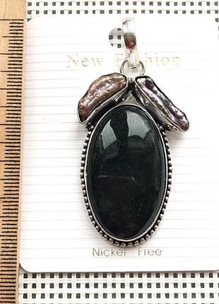 Новый кулон - подвеска природный моховой агат , жемчуг, в серебре 925 , индия4 фото