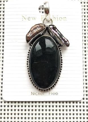 Новый кулон - подвеска природный моховой агат , жемчуг, в серебре 925 , индия3 фото