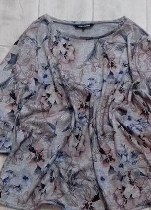 #красивая тепленькая кофта# шикарный цветочный принт #рукав волан# большой раз-р3