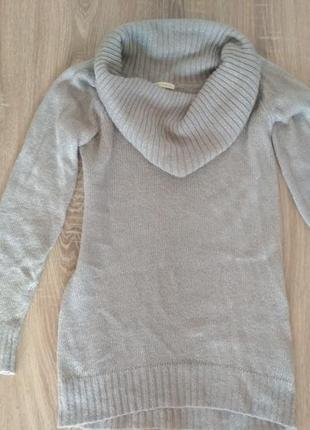 Свитер туника платье серебро reserved1