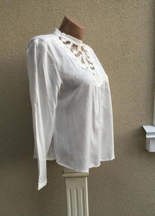 Красивая,романтическая,белая блуза,рубаха с кружевом по груди,коллекция clockhouse4