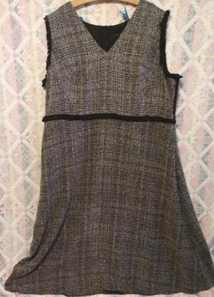 Платье сарафан большой размер 22  теплое1