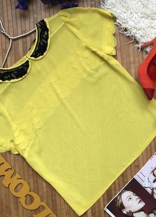 Шикарная шифоновая блуза с воротничком