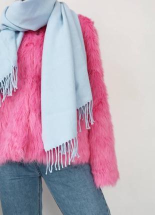 Небесно-голубой шарф с бахромой1