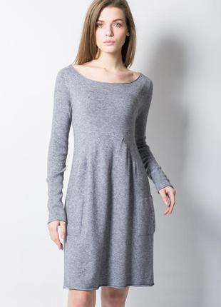 Серое повседневное платье