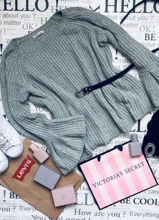 Шикарный плюшевый мятный свитер с объемными рукавами1