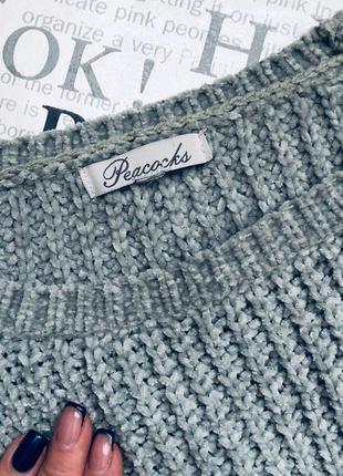 Шикарный плюшевый мятный свитер с объемными рукавами2