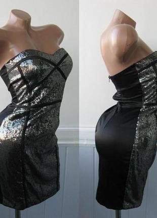 Платье бандо в паетках, бандаж, облегающее, вечернее, коктейльное, корпоратив3
