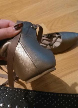 Туфельки бронзового цвета3