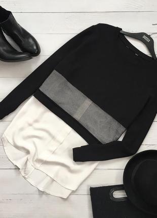Трендовый комбинированный свитер рубашка