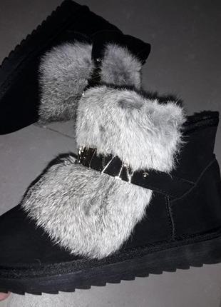 36-40 угги натуральная замша сапоги сапожки мех зима замша кожа угги жіночі теплі нат мех1