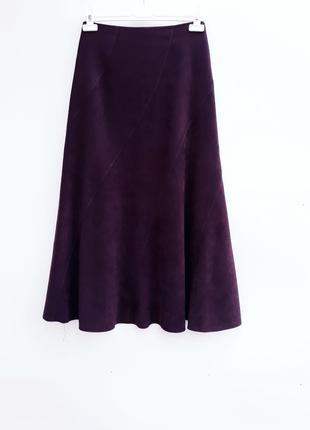 Красивая юбка под замш стильная и качественная юбка миди состояние новой2 фото