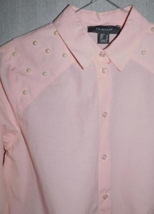 Трендовая хлопковая рубашка блузка с жемчугом бусинами от atmopshere3