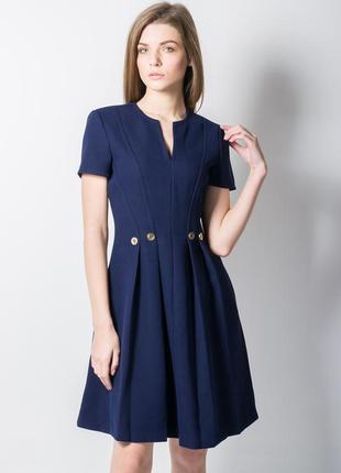 Темно-синее платье со складками италия