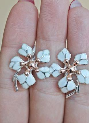 Серебряные серьги кокетка белые позолота2