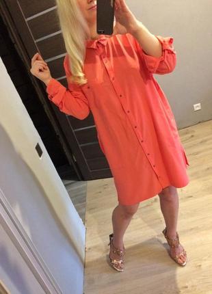 Розовое платье рубашка с карманами батал1