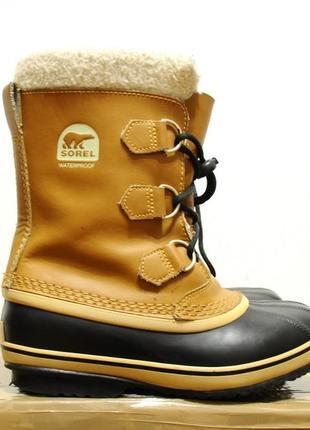 35/22 см, детские/женские зимние теплые ботинки sorel (канада) -40, сапоги чоботи дитячі
