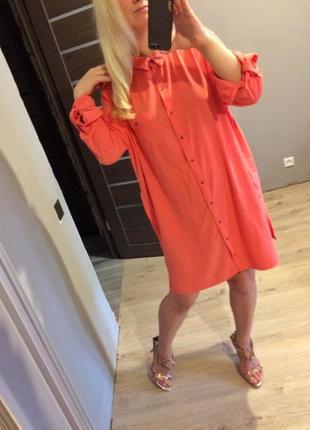 Розовое платье рубашка с карманами батал2