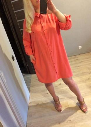 Розовое платье рубашка с карманами батал5