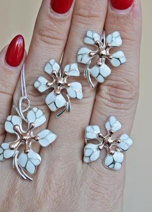 Серебряный набор кокетка белый позолота (кольцо 19) скидка 10%!1 фото
