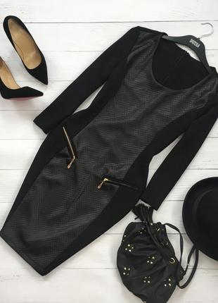 Роскошное платье по фигуре с кожаной вставкой1 фото
