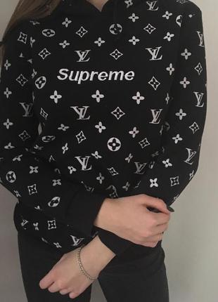 Худи louis vuitton x supreme толстовка с капюшоном свитер свитшот реглан кофта1