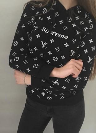 Худи louis vuitton x supreme толстовка с капюшоном свитер свитшот реглан кофта2