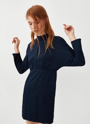 Платье zara летучая мышь синее горох1