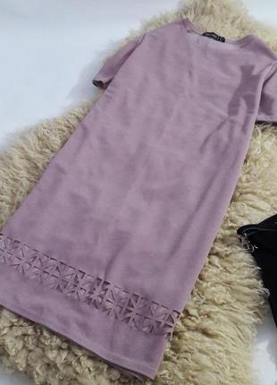 Нежно сиреневое платье прямого кроя2 фото