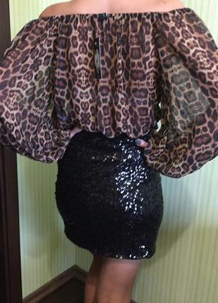 Блуза леопардовый принт
