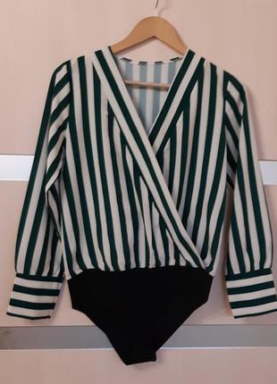 Блуза боди на запах в полоску1 фото