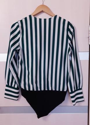Блуза боди на запах в полоску2 фото