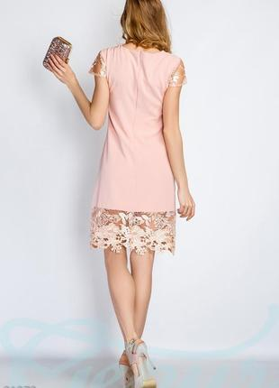 Платье ажурная отделка праздничное пудра кружего3