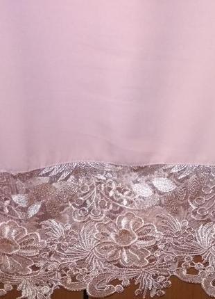 Платье ажурная отделка праздничное пудра кружего5