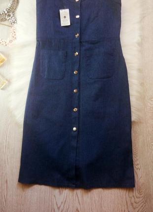 Новое синее платье миди бюстье с карманами и кнопками спереди сарафан джинс длинное4