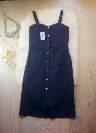 Новое синее платье миди бюстье с карманами и кнопками спереди сарафан джинс длинное2