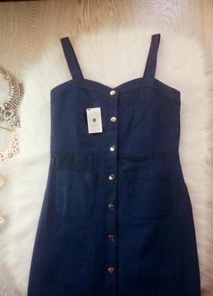 Новое синее платье миди бюстье с карманами и кнопками спереди сарафан джинс длинное3