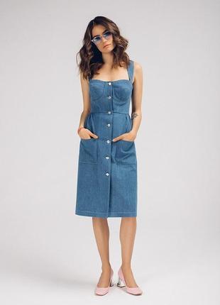 Новое синее платье миди бюстье с карманами и кнопками спереди сарафан джинс длинное1