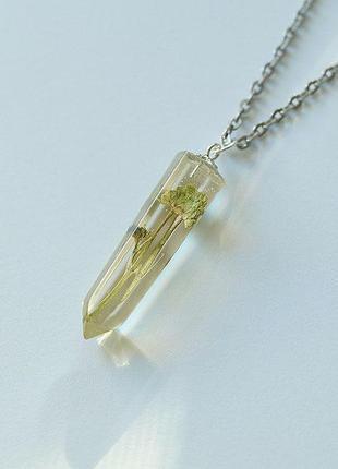 Кулон-кристалл с полевым цветком1