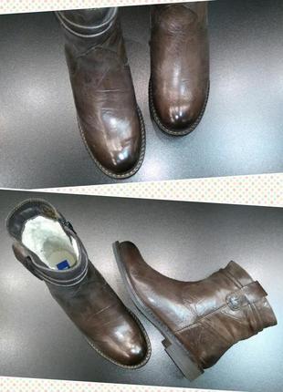 Зимние ботинки из натуральной кожи европейского бренда m&d коричневые, р. 383
